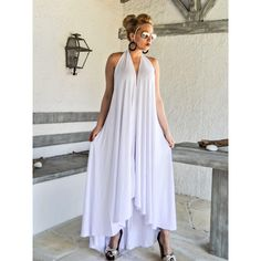 White Summer Maxi Dress White Kaftan Asymmetric Plus Size Dress... (340 RON) ❤ liked on Polyvore featuring dresses, black, women's clothing, white beach dresses, white maxi dress, plus size holiday dresses, summer maxi dresses and plus size summer dresses
