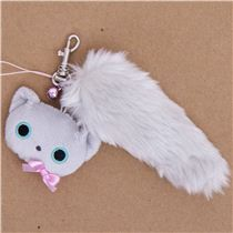 plush charm with grey cat and fluffy cat tail by San-X from Japan