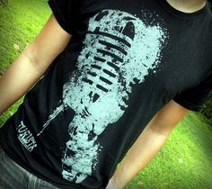 Punk t shirt  Microphone splatter black Unisex by TuristaClothing, $20.00