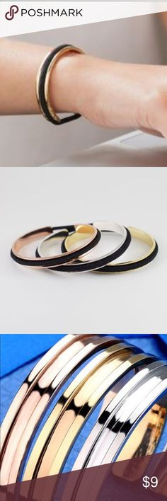 3 Hair elastic bangle bracelets Set of 3 bangles with hair elastics. Includes a gold, a silver, and a rose gold bracelet. Jewelry Bracelets