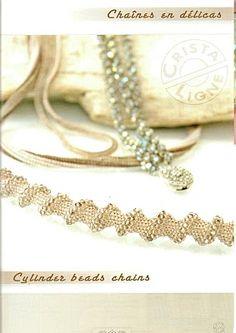 Esquema de Collar cordón en espiral de abalorios;  MATERIALS: 3mm bicones; 9's, 11's; delicas;