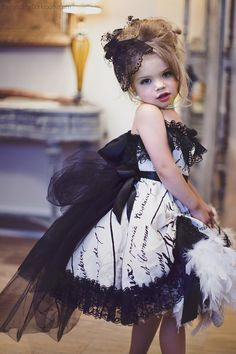 """Little Miss Fancy""... A Gorgeous French Script Feather Dress Bonjour! Pack your bags, grab your passport and get ready for The City Of Light! Our ""Little Miss Fancy"" design from love Baby J is Perfec"