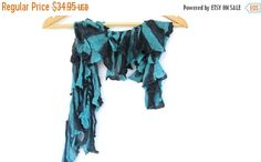 Turquoise lace scarf ruffle scarf necklace by BestOffersBoutique