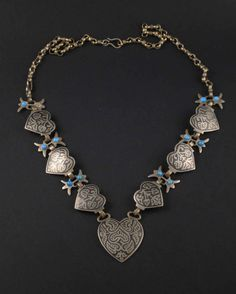 Hanmade silver enameled vintage necklace from Egypt -heart pendant - ethnic and tribal - oriental jewelry