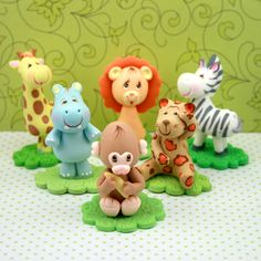 Jungle Animals Cold Porcelain Topper Set