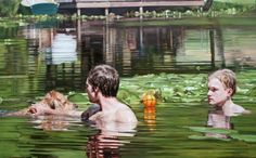 We are enjoying these photorealistic paintings by Laura Sanders this morning, as they remind us of looking through an old family picture album of an old summer vacation. The series, Pools, Lakes, and Rivers, was completed from 2009—10.