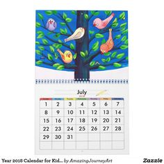 Year 2018 Calendar for Kids Kids Calendar, Frame It, Personalized Products, 9 And 10, Amazing Art, Art For Kids, Kids Room, Great Gifts, Presents