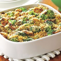 "MAKE A DAY AHEAD - Broccoli-Mushroom Casserole from ""Easy Potluck Recipes"" AllYou.com (many ideas here)"