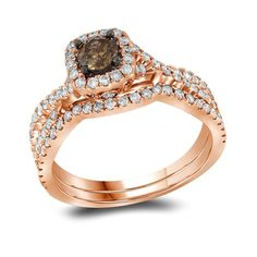 Pin it for later. Find out more chocolate diamond engagement rings. Jewel Tie Rose Gold Round Chocolate Brown And White Diamond Bridal Solitaire Halo Engagement Ring with Curved Matching Wedding Band cttw. Band Engagement Ring, Wedding Engagement, Pink And Gold Wedding, Champagne Diamond, Wedding Bands, Wedding Set, Band Rings, Jewels, Deco
