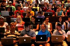 No laptops in the lecture hall. How about this instead: No lecture hall.
