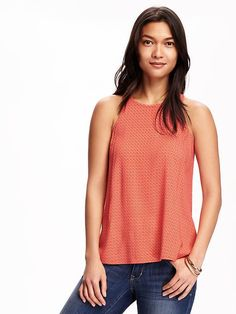 Patterned High-Neck Trapeze Tank for Women
