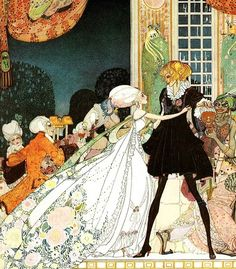 """Kay Nielsen ~ The Twelve Dancing Princesses from In Powder and Crinoline ~ Hodder & Stoughton ~ 1913  """"Don't drink!"""" cried out the little Princess, springing to her feet; """"I would rather marry a gardener!"""""""