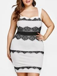 a15bb943ad8 Plus Size Lace Trim Square Neck Fitted Dress