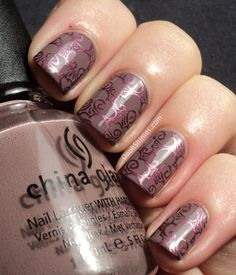 China Glaze Below Deck with China Glaze Joy and BM plate 312. | From Oooh, Shinies!: First Fall mani of the year