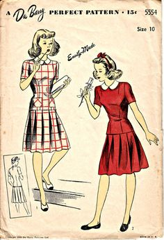 1940's Teenage Two-Piece Dress Pattern  by ShellMakeYouFlip
