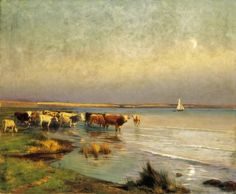 Tehenek a Balaton-parton (Cows by the Lake Balaton) by Gyula Aggházy Landscape Art, Landscape Paintings, Popular Artists, Famous Artists, Baby Portraits, Traditional Paintings, Global Art, Your Paintings
