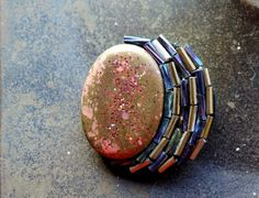 Jewel Enamel and Bead Brooch On Felt £6.00