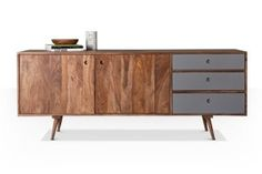 Swoon Editions Sideboard, Mid century style in sheesham wood with grey drawers - £549