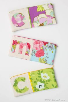 Sew a Monogrammed Zipper Pouch from a few small scraps of fabric. A great way to organize your life!