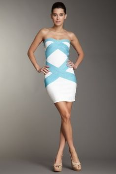 Chic Couture Online - White Aqua Double Woven Shimmer Accent Strapless Bandage Dress, $55.00 (http://www.chiccoutureonline.com/white-aqua-double-woven-shimmer-accent-strapless-bandage-dress/)