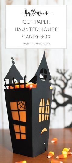 Pinned 1K times: Using your Cricut or other cutting machine, make this fun Halloween haunted…