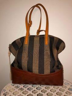 053db4bfa59 FENDI Pequin Striped 2 Bag Canvas And Leather Shoulder bag Tobacco Leather  Shoulder Bag, Fendi
