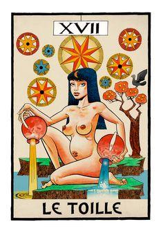 L'etoille (The Star) Tarot by Jamie Hewlett (Gorillaz). Tarot Card Decks, Tarot Cards, Tank Girl Comic, Jamie Hewlett Art, Monster Museum, Star Tarot, 17th Century Art, Tarot Prediction, Drawing Expressions