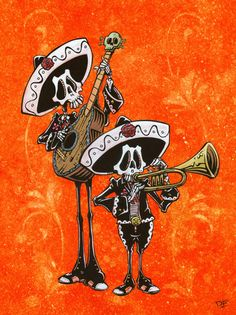 Day of the Dead Artist David Lozeau, Dos Mariachis, David Lozeau Dia de los Muertos Art