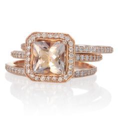 Morganite 7x7 princess halo diamond engagement ring in rose gold