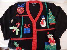 Ugly Christmas Sweater Small Womens Embellished Teddy Santa Snowman Bells  #WorkInProgress #Cardigan