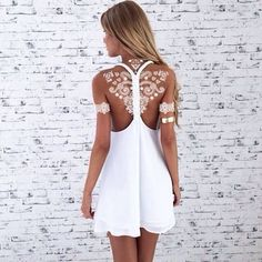 Stunning White Henna Inspired Tattoos That Looks Like Elegant Lace. White Henna Tattoo, Henna Tattoos, Beach Tattoos, Henna Body Art, White Tattoos, The Dress, Dress Skirt, Summer Outfits, Cute Outfits