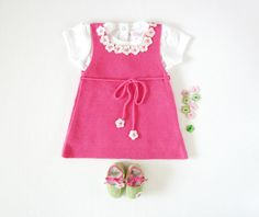 A knitted baby dress with little flowers fuchsia by tenderblue