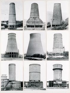 Bernd and Hilla Becher's 1972 study of of concrete cooling towers. New Topographic Bernd Und Hilla Becher, Cooling Tower, Industrial Architecture, Built Environment, Brutalist, Urban Landscape, Conceptual Art, View Photos, Art Images