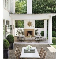Stylish Outdoor Eating Areas For Summer Euro Style Home Blog ❤ liked on Polyvore featuring home and outdoors