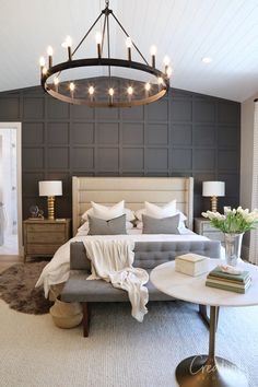 "Utah Valley Parade of Homes 2019 - Utah Valley Parade of Homes 2019 Wall! "" Utah Valley Parade of Homes 2019 Wall! Master Bedroom Design, Dream Bedroom, Home Decor Bedroom, Bedroom Designs, Dark Master Bedroom, Master Bedroom Chandelier, Vaulted Ceiling Bedroom, Dark Gray Bedroom, Master Bedrooms"