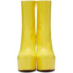 Vetements Yellow Leather Chunky Boots ($1,760) ❤ liked on Polyvore featuring shoes, boots, yellow shoes, chunky platform boots, platform shoes, zipper boots and chunky platform shoes