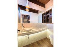 Mid-Century Modern Powder Room, Heath Tile, Onyx Countertop, Axor Stark Faucet