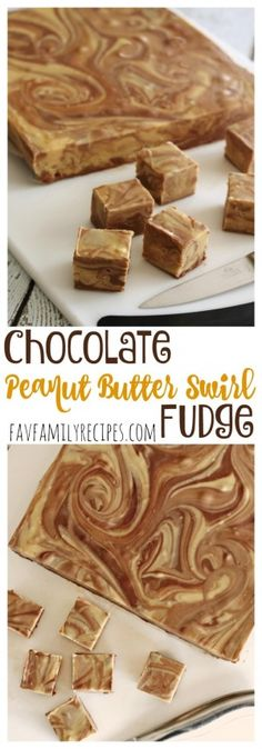 This Chocolate Peanut Butter Fudge swirl is quite possibly heaven on earth. Think Reese's Peanut Butter Cup in fudge form. via @favfamilyrecipz