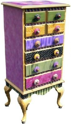 I will look for these at thrift stores, to hold small office items or childrens toy accessories. I would love to paint one with a more subtle and boho type details and line (modge podge?) the drawers with some fun paper or ?