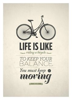 Life Quote typography poster - Life is like riding a bicycle - Retro-style quote art print A3. $18.00, via Etsy.