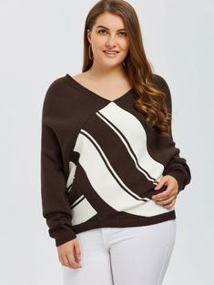 Coffee Block knitted sexy pullover women tops v neck long sleeve chic jumper XL-… - Women's fashion and Women's Bag trends Cute Fashion, Plus Fashion, Plus Clothing, Plus Size Cardigans, Fashion Seasons, Color Block Sweater, Cool Outfits, Pullover, Long Sleeve