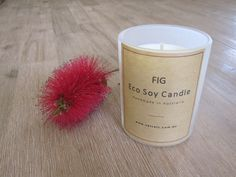 Fig - Eco & Handmade Soy Candle      Luscious fresh fig notes accentuated by sparkling cassis and leafy     green notes with hints of jasmin & cyclamen.  Handmade and poured with natural eco soy wax by Velvety in Bunyip,  Australia.  Our tumblers burn for approximately 33 hours and hold 165 gr of eco soy  wax.        * SHIPPING INFORMATION     * EMAIL ME WHEN BACK IN STOCK