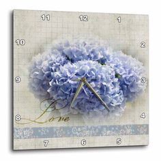 3dRose Romantic Love Blue Hydrangea Flowers - Floral Photography - Wedding, Wall Clock, 10 by 10-inch