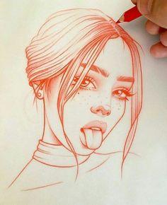 Schlag des Herzens: die Zeichnungen in Rot von Rik Lee - Zeichnungen - Drawing Art Drawings Sketches, Sketch Art, Easy Drawings, Eye Sketch, Tumblr Art Drawings, Skull Drawings, Sketch Paper, Girl Drawings, Realistic Drawings