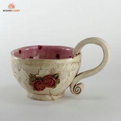 """Keramik Geschirr - Tasse """"Rosen"""""""