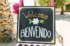 DIY welcome sign for a fiesta wedding