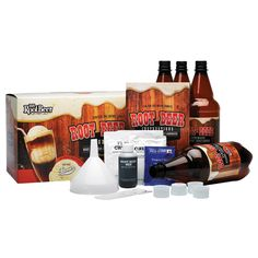 Root Beer Kit Multi - This Mr. Root Beer Kit is a fun way to make your own homemade root beer. It makes 2 gallons of old-fashioned and great tasting root beer in just 3 days. Includes bottle and funnel. Beer Brewing, Home Brewing, Root Beer Extract, Wine Making Kits, Finger, Homemade Beer, Soda Bottles, How To Make Beer, Make It Yourself