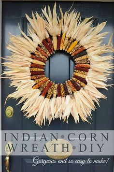 Indian Corn Wreath - 30 DIY Fall Wreaths We've Been Dreaming About - Southernliving. We just love all of the color in this wreath, and the unconventional use of material that just screams autumn. Find the DIY guide at StoneGable Diy Fall Wreath, Wreath Crafts, Wreath Ideas, Autumn Wreaths, Thanksgiving Crafts, Holiday Crafts, Thanksgiving Table, Diy Thanksgiving Decorations, Fall Door Decorations