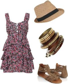 I love the floral and fedora....and everything about this! I would actually wear that dress!
