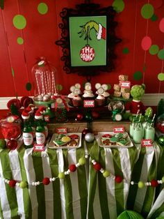 The Grinch Christmas party dessert table! See more party planning ideas at CatchMyParty.com!